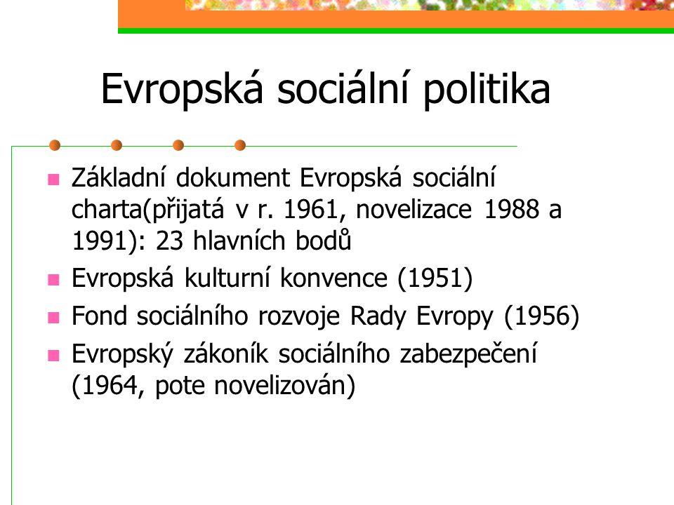Evropská sociální politika Do konce druhé sv. války pouze Mezinárodní organizace práce Po 2.sv.válce: Hospodářský a sociální výbor OSN, UNESCO, WHO, S