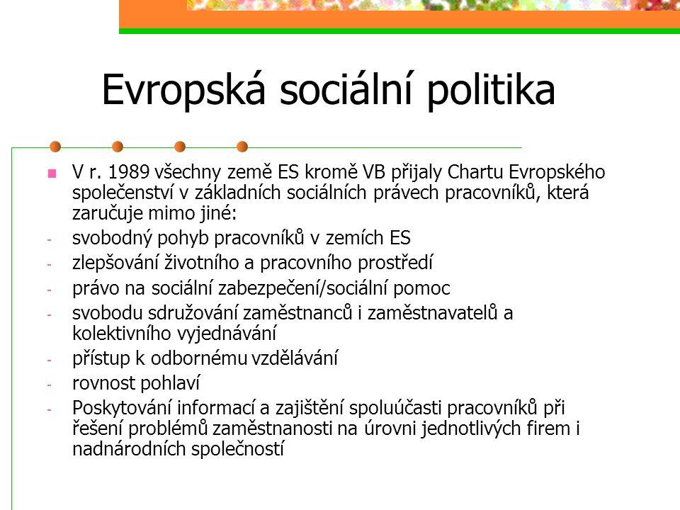 Evropská sociální politika ES vzniklo z hospodářských a politických motivů, přesto již v Římská smlouva obsahuje i sociálně politické prvky (např. ust