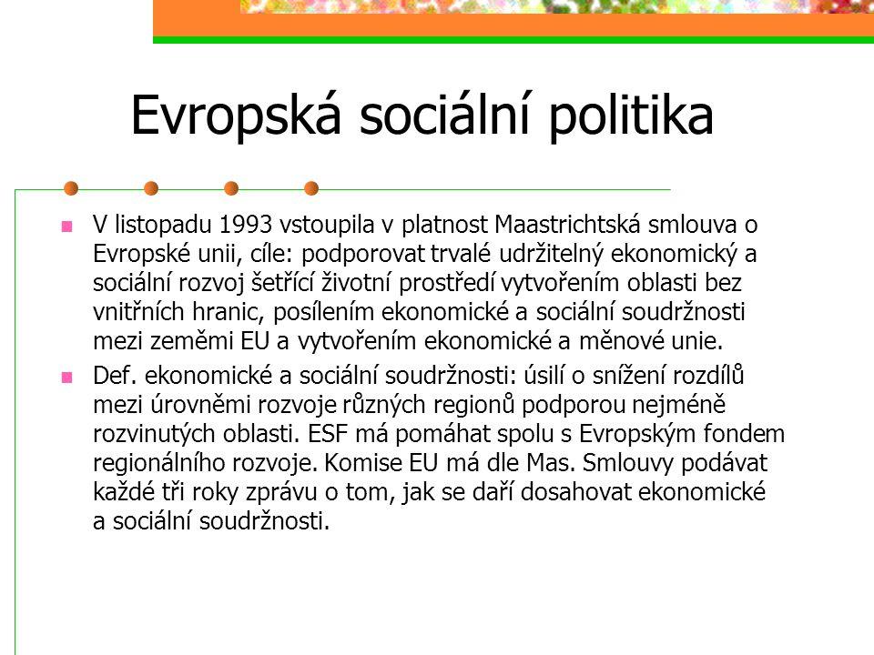 Evropská sociální politika V r. 1989 všechny země ES kromě VB přijaly Chartu Evropského společenství v základních sociálních právech pracovníků, která