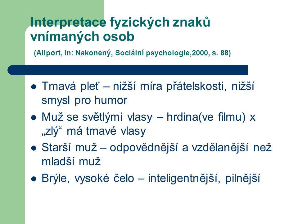 Interpretace fyzických znaků vnímaných osob (Allport, In: Nakonený, Sociální psychologie,2000, s. 88) Tmavá pleť – nižší míra přátelskosti, nižší smys