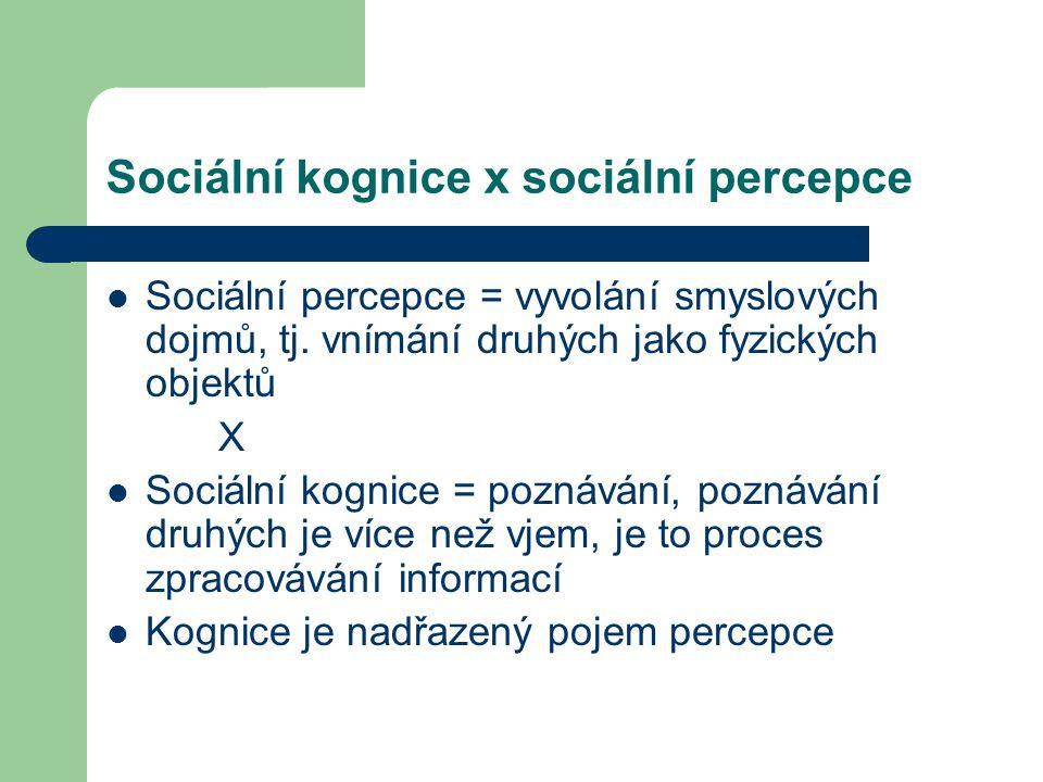 Sociální kognice x sociální percepce Sociální percepce = vyvolání smyslových dojmů, tj. vnímání druhých jako fyzických objektů X Sociální kognice = po