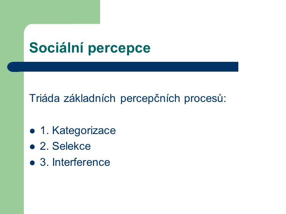 Sociální percepce Vnímání a posuzování druhých osob i sebe sama Kategorizace = zařazujeme vnímané osoby/události do určitých tříd/kategorií – podle míry shodnosti V průběhu percepce se často dopouštíme chyb