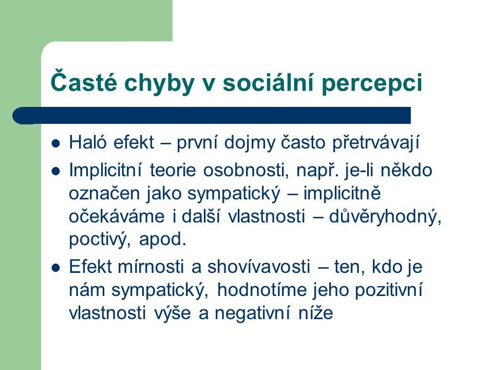 Časté chyby v sociální percepci Haló efekt – první dojmy často přetrvávají Implicitní teorie osobnosti, např. je-li někdo označen jako sympatický – im