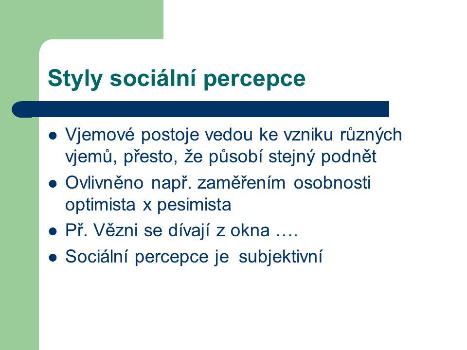 Styly sociální percepce Vjemové postoje vedou ke vzniku různých vjemů, přesto, že působí stejný podnět Ovlivněno např. zaměřením osobnosti optimista x