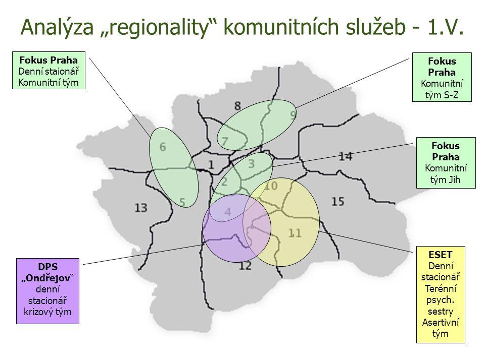"Analýza ""regionality"" komunitních služeb - 1.V. Fokus Praha Komunitní tým Jih Fokus Praha Komunitní tým S-Z Fokus Praha Denní staionář Komunitní tým E"