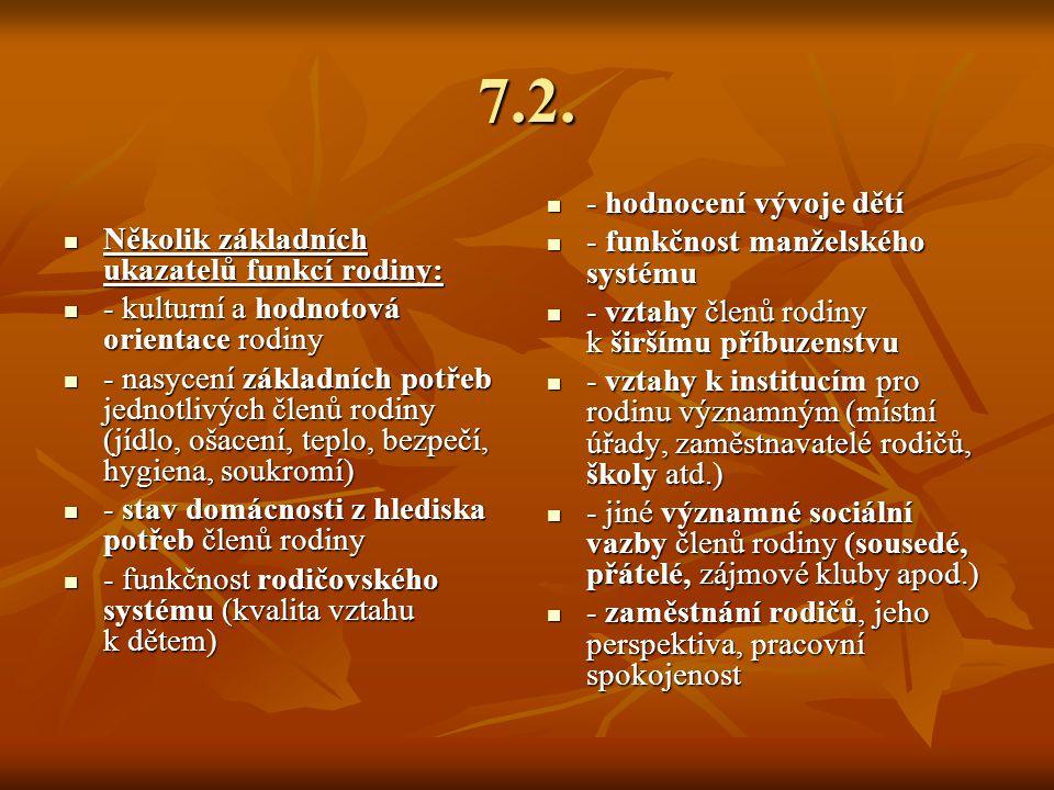 7.2. Několik základních ukazatelů funkcí rodiny: Několik základních ukazatelů funkcí rodiny: - kulturní a hodnotová orientace rodiny - kulturní a hodn