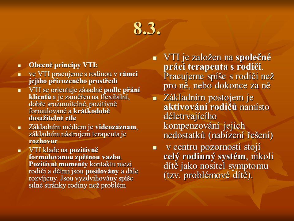 8.3. Obecné principy VTI: Obecné principy VTI: ve VTI pracujeme s rodinou v rámci jejího přirozeného prostředí ve VTI pracujeme s rodinou v rámci její