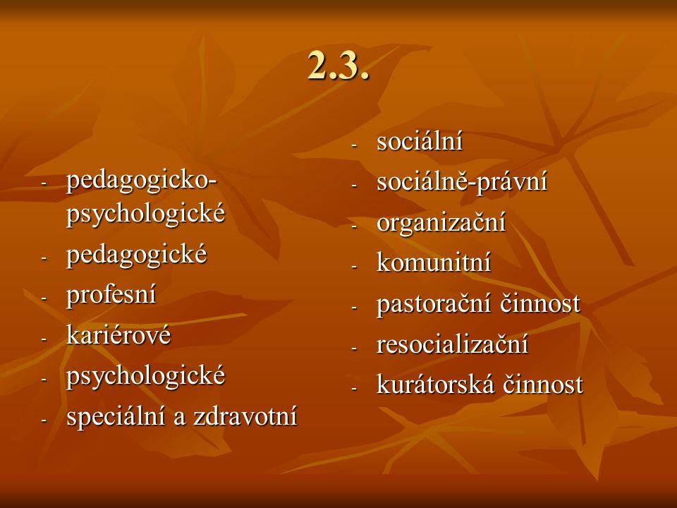 2.3. - pedagogicko- psychologické - pedagogické - profesní - kariérové - psychologické - speciální a zdravotní - sociální - sociálně-právní - organiza