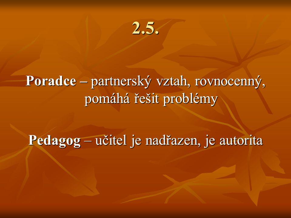 2.5. Poradce – partnerský vztah, rovnocenný, pomáhá řešit problémy Pedagog – učitel je nadřazen, je autorita