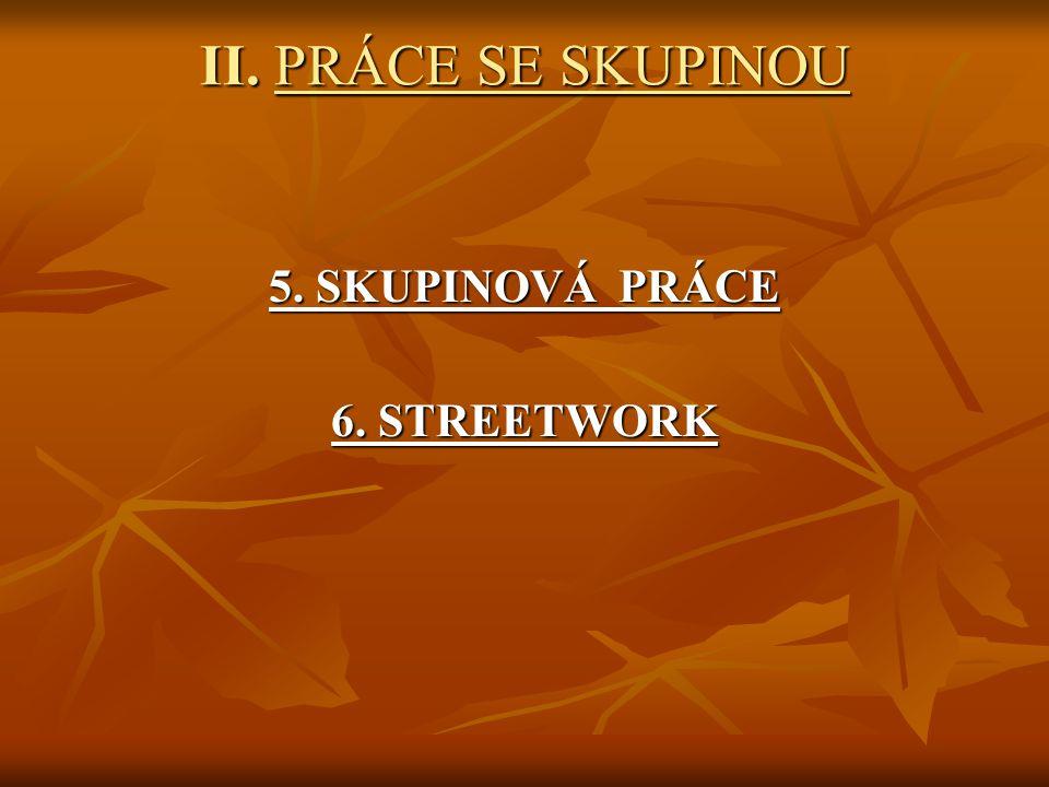 II. PRÁCE SE SKUPINOU 5. SKUPINOVÁ PRÁCE 6. STREETWORK