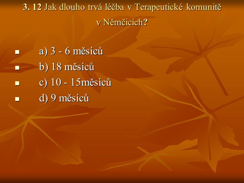 3.12 Jak dlouho trvá léčba v Terapeutické komunitě v Němčicích.