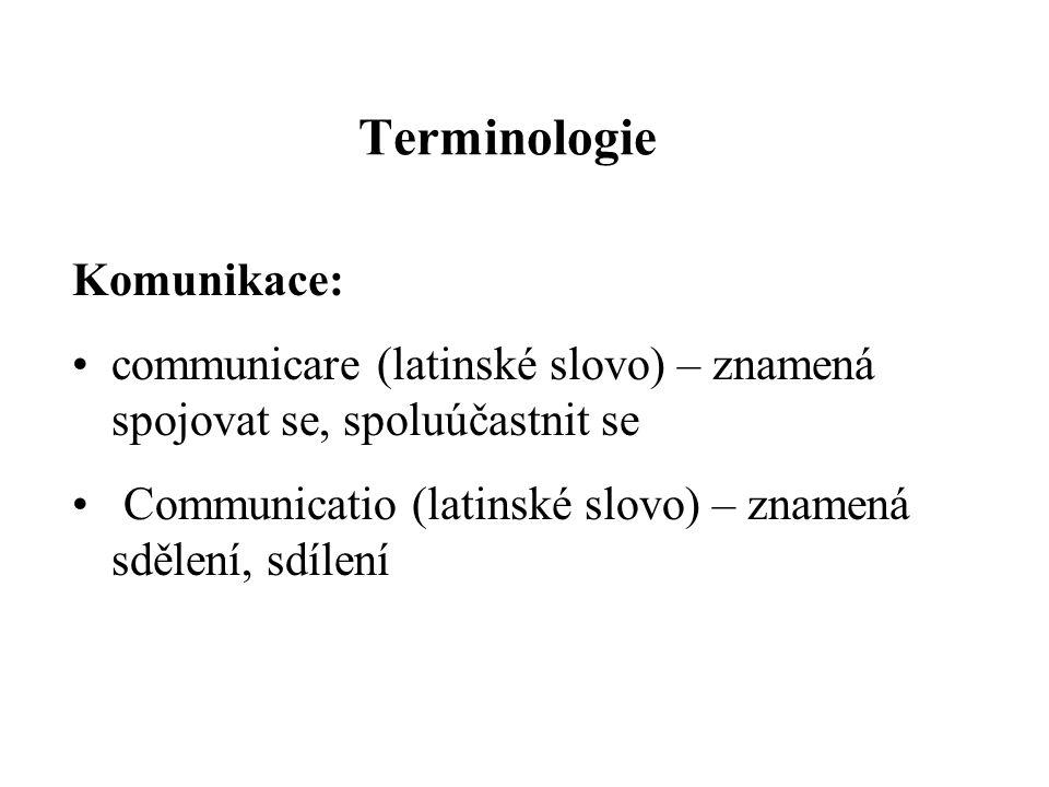Terminologie Komunikace: communicare (latinské slovo) – znamená spojovat se, spoluúčastnit se Communicatio (latinské slovo) – znamená sdělení, sdílení