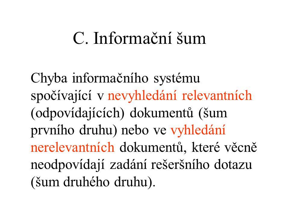 C. Informační šum Chyba informačního systému spočívající v nevyhledání relevantních (odpovídajících) dokumentů (šum prvního druhu) nebo ve vyhledání n