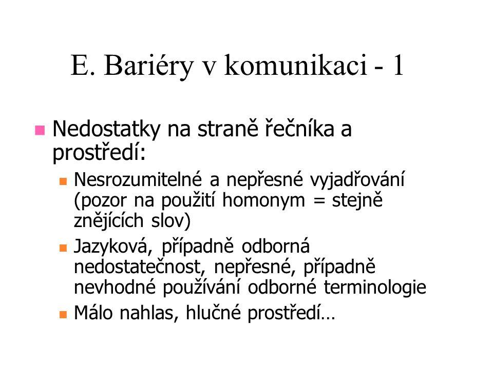 E. Bariéry v komunikaci - 1 Nedostatky na straně řečníka a prostředí: Nesrozumitelné a nepřesné vyjadřování (pozor na použití homonym = stejně znějící