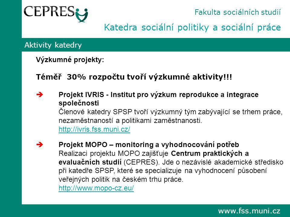 www.fss.muni.cz Aktivity katedry Výzkumné projekty: Téměř 30% rozpočtu tvoří výzkumné aktivity!!!  Projekt IVRIS - Institut pro výzkum reprodukce a i