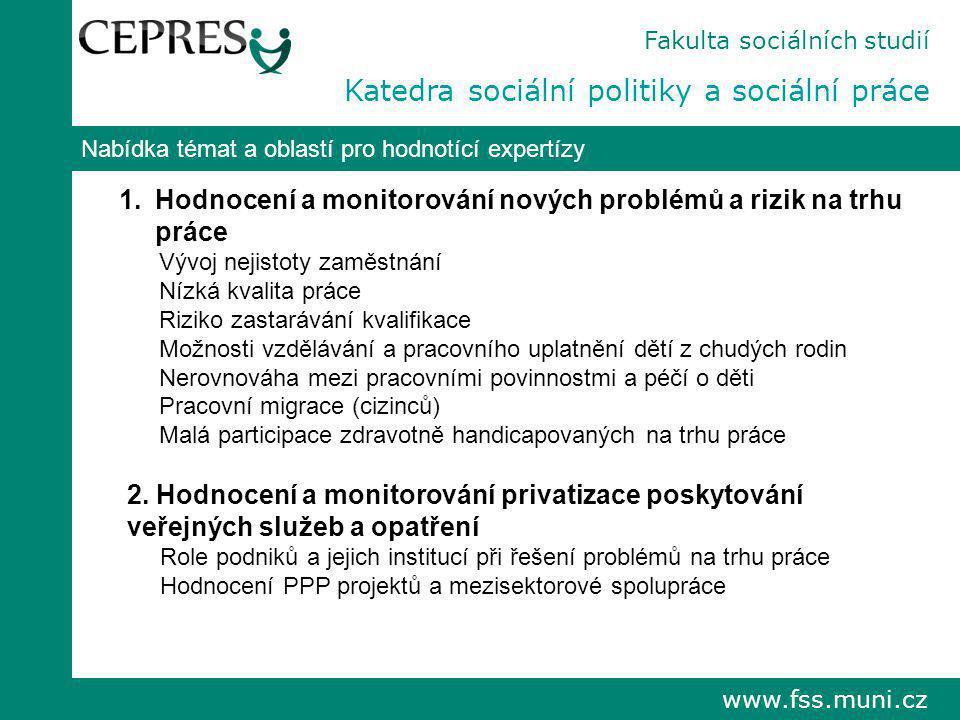 www.fss.muni.cz Nabídka témat a oblastí pro hodnotící expertízy 1.Hodnocení a monitorování nových problémů a rizik na trhu práce Vývoj nejistoty zaměs