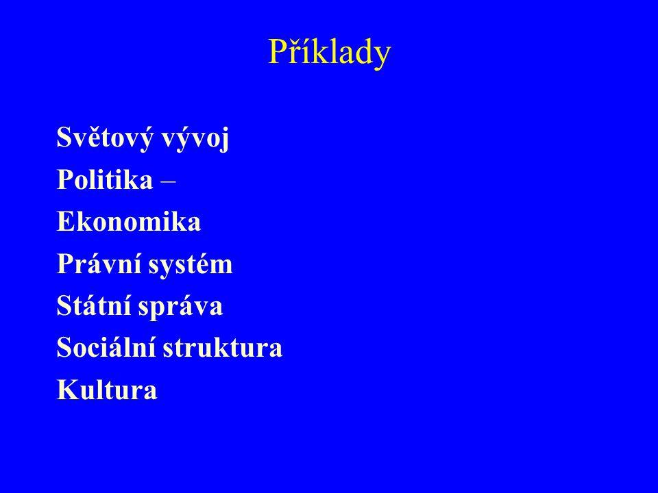 Příklady Světový vývoj Politika – Ekonomika Právní systém Státní správa Sociální struktura Kultura