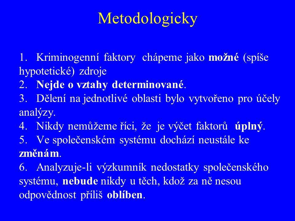 Metodologicky 1. Kriminogenní faktory chápeme jako možné (spíše hypotetické) zdroje 2. Nejde o vztahy determinované. 3. Dělení na jednotlivé oblasti b