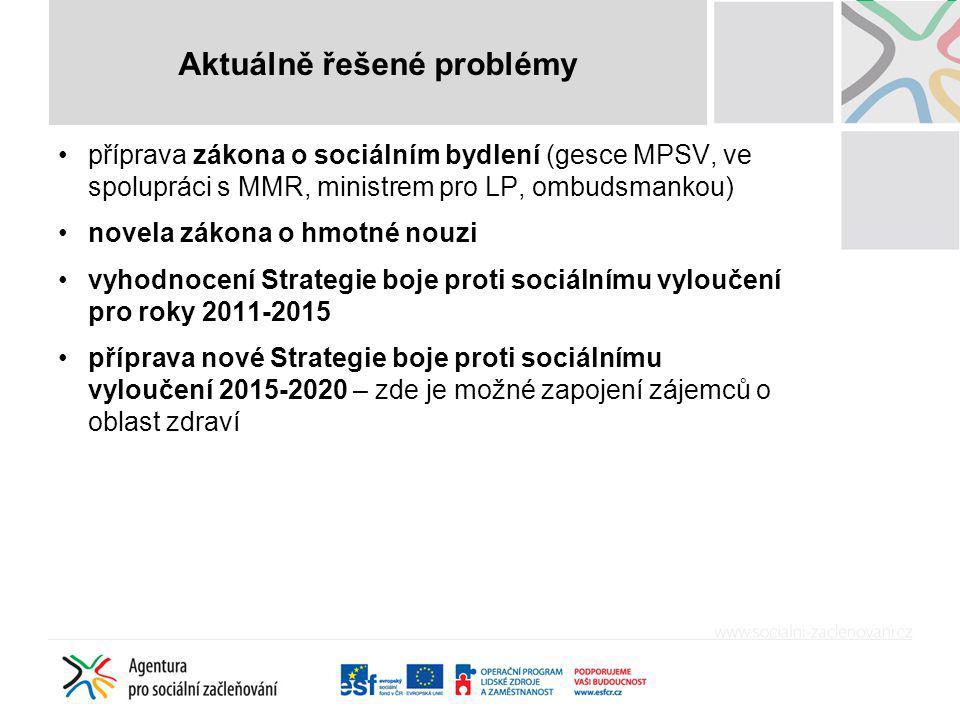 příprava zákona o sociálním bydlení (gesce MPSV, ve spolupráci s MMR, ministrem pro LP, ombudsmankou) novela zákona o hmotné nouzi vyhodnocení Strateg