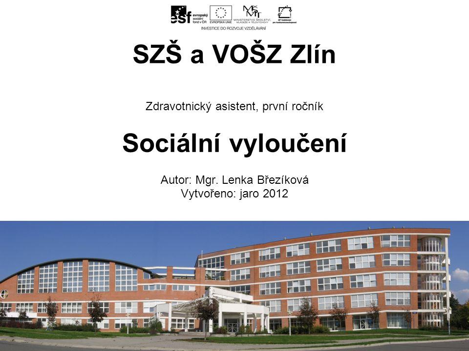 Zdravotnický asistent, první ročník Sociální vyloučení Autor: Mgr.