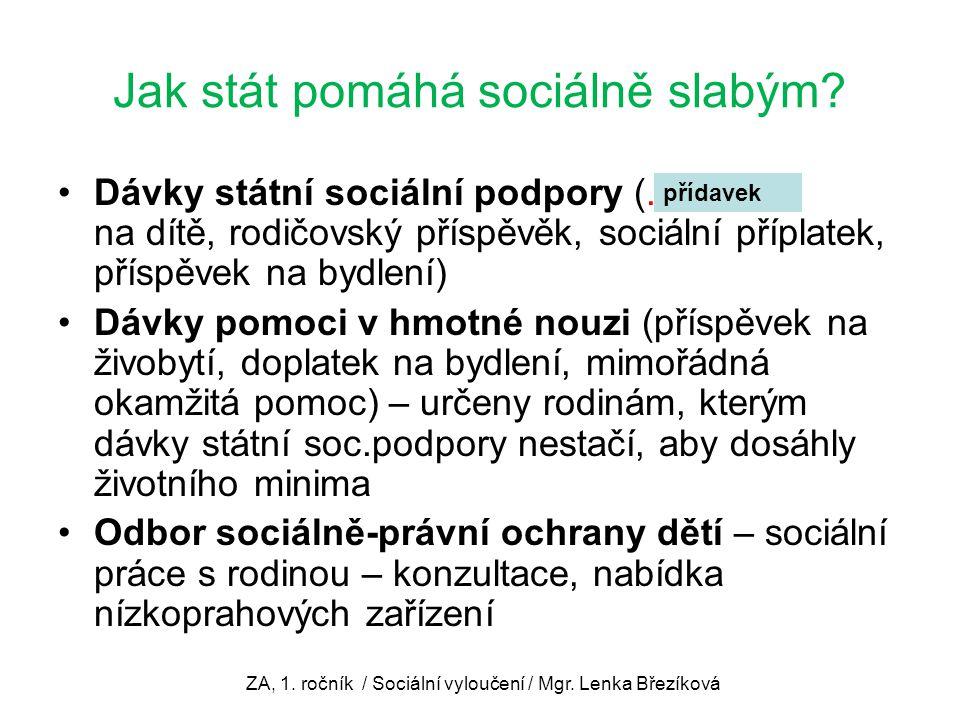 Jak stát pomáhá sociálně slabým? Dávky státní sociální podpory (............... na dítě, rodičovský příspěvěk, sociální příplatek, příspěvek na bydlen