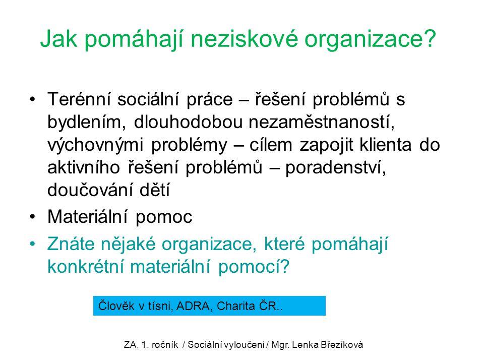 Jak pomáhají neziskové organizace? Terénní sociální práce – řešení problémů s bydlením, dlouhodobou nezaměstnaností, výchovnými problémy – cílem zapoj