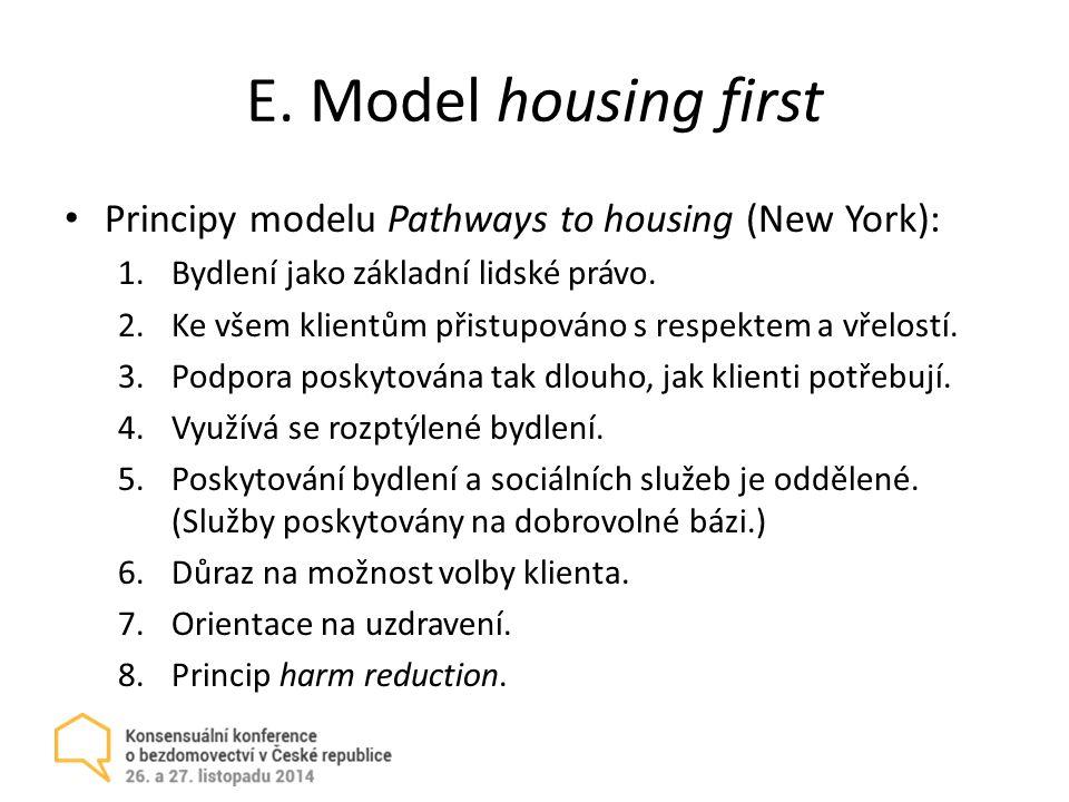 E. Model housing first Principy modelu Pathways to housing (New York): 1.Bydlení jako základní lidské právo. 2.Ke všem klientům přistupováno s respekt