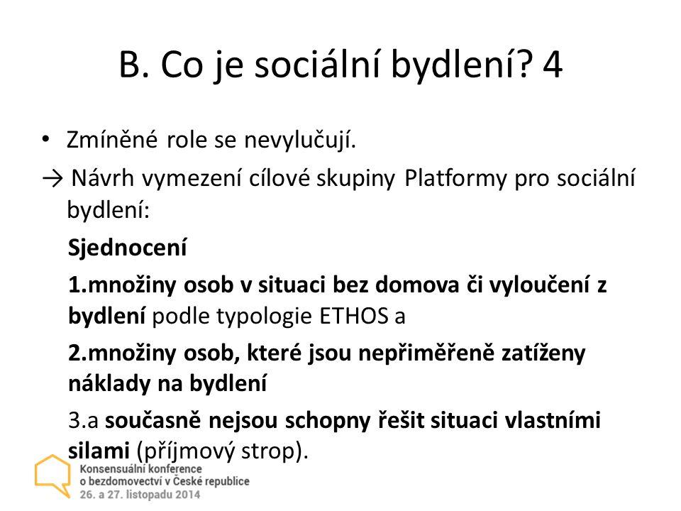 B.Co je sociální bydlení. 4 Zmíněné role se nevylučují.