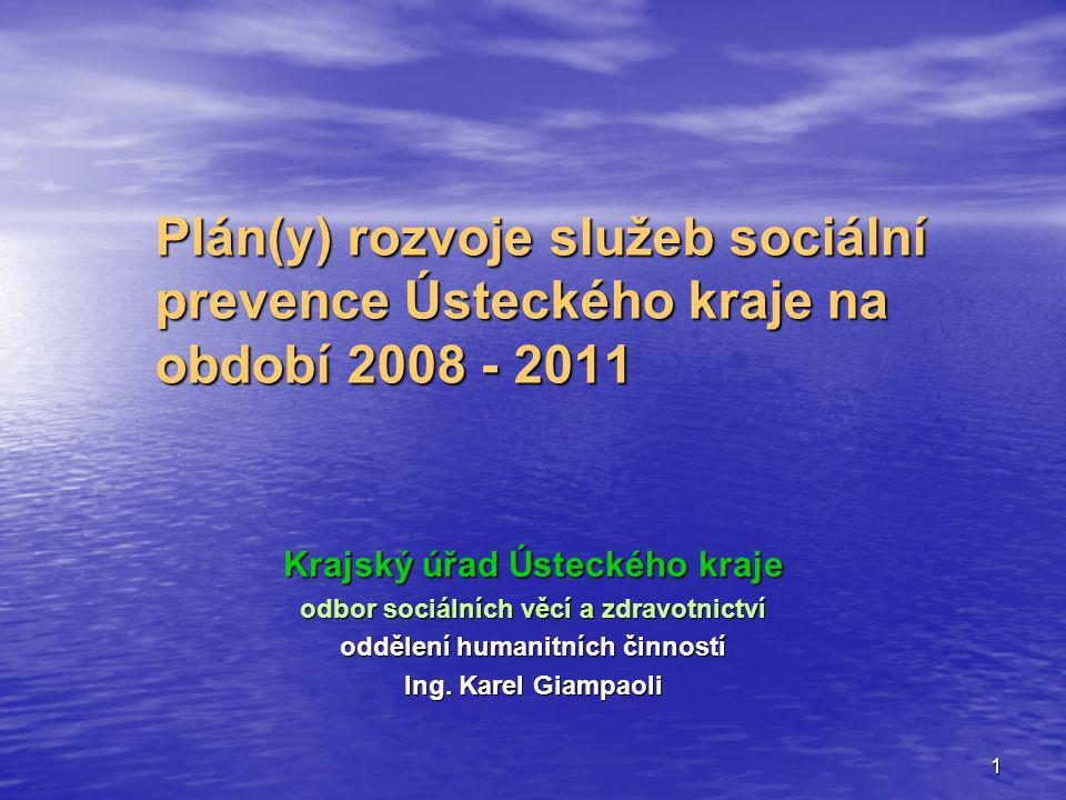 1 Plán(y) rozvoje služeb sociální prevence Ústeckého kraje na období 2008 - 2011 Krajský úřad Ústeckého kraje odbor sociálních věcí a zdravotnictví od