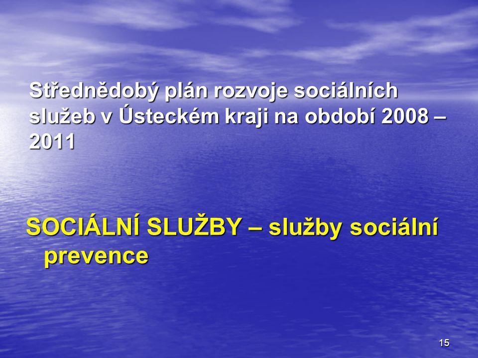 15 Střednědobý plán rozvoje sociálních služeb v Ústeckém kraji na období 2008 – 2011 SOCIÁLNÍ SLUŽBY – služby sociální prevence