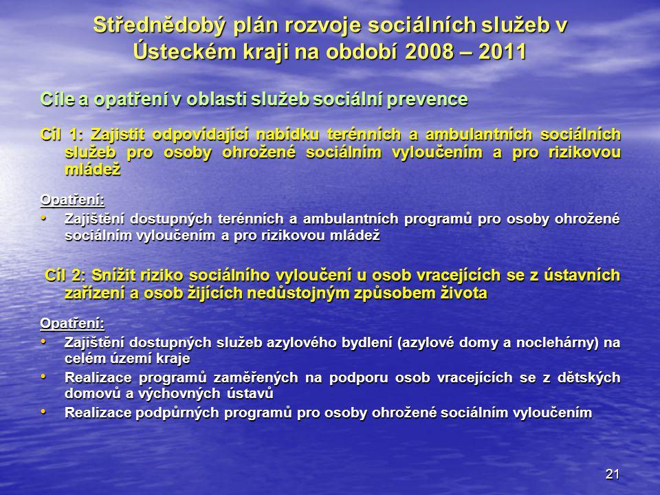 21 Střednědobý plán rozvoje sociálních služeb v Ústeckém kraji na období 2008 – 2011 Cíle a opatření v oblasti služeb sociální prevence Cíl 1: Zajisti