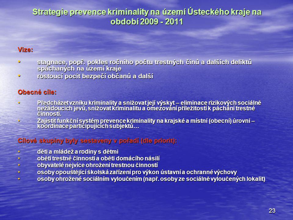 23 Strategie prevence kriminality na území Ústeckého kraje na období 2009 - 2011 Vize: stagnace, popř. pokles ročního počtu trestných činů a dalších d