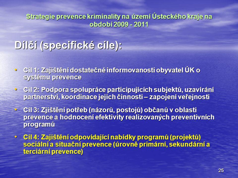 25 Strategie prevence kriminality na území Ústeckého kraje na období 2009 - 2011 Dílčí (specifické cíle): Cíl 1: Zajištění dostatečné informovanosti o