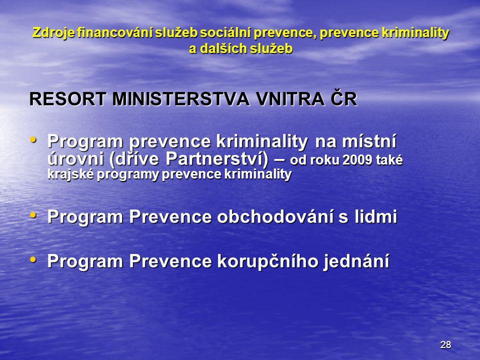 28 Zdroje financování služeb sociální prevence, prevence kriminality a dalších služeb RESORT MINISTERSTVA VNITRA ČR Program prevence kriminality na mí