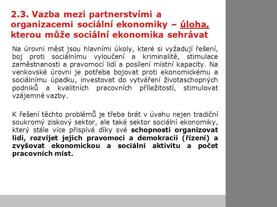 2.3. Vazba mezi partnerstvími a organizacemi sociální ekonomiky – úloha, kterou může sociální ekonomika sehrávat Na úrovni měst jsou hlavními úkoly, k