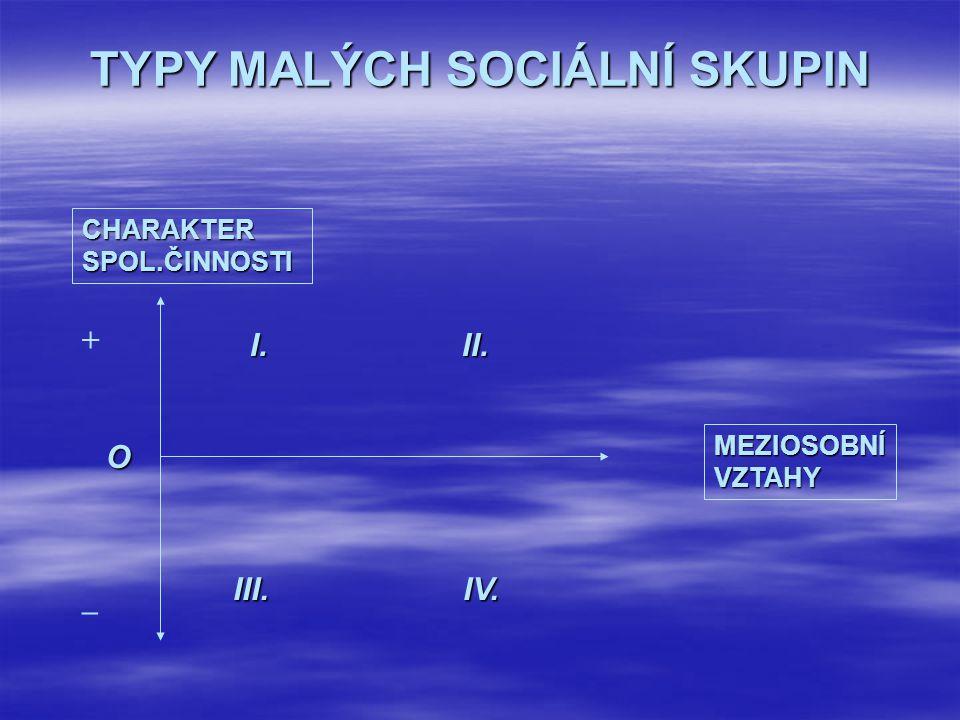 TYPY MALÝCH SOCIÁLNÍ SKUPIN CHARAKTER SPOL.ČINNOSTI MEZIOSOBNÍ VZTAHY I. II. III. IV. + _ O