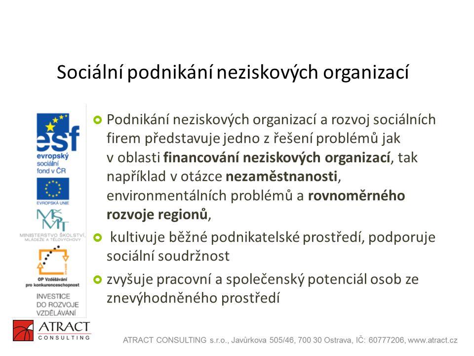 Sociální podnikání neziskových organizací  Podnikání neziskových organizací a rozvoj sociálních firem představuje jedno z řešení problémů jak v oblasti financování neziskových organizací, tak například v otázce nezaměstnanosti, environmentálních problémů a rovnoměrného rozvoje regionů,  kultivuje běžné podnikatelské prostředí, podporuje sociální soudržnost  zvyšuje pracovní a společenský potenciál osob ze znevýhodněného prostředí