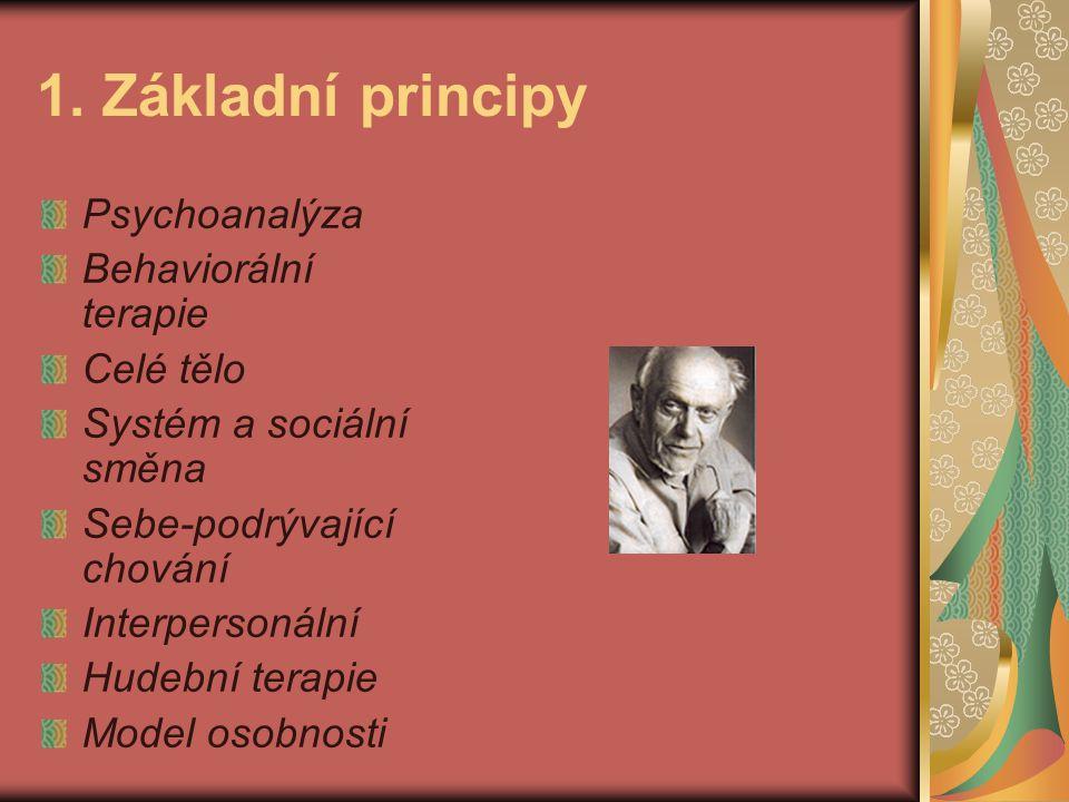 1. Základní principy Psychoanalýza Behaviorální terapie Celé tělo Systém a sociální směna Sebe-podrývající chování Interpersonální Hudební terapie Mod