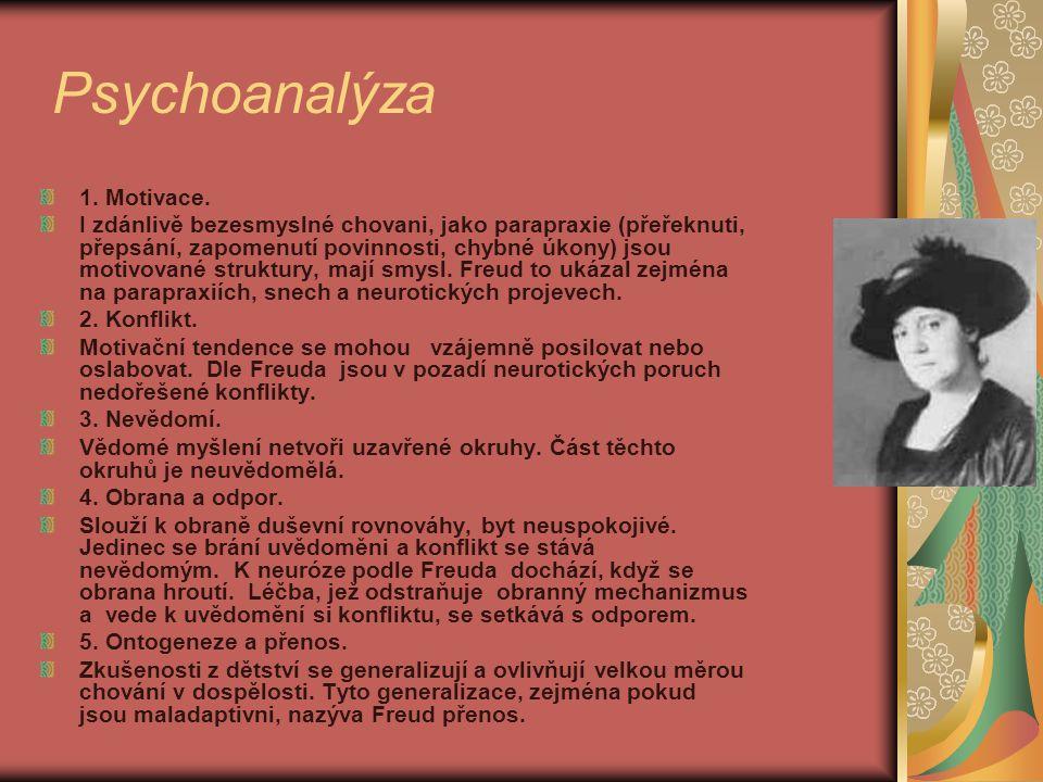 Psychoanalýza 1. Motivace. I zdánlivě bezesmyslné chovani, jako parapraxie (přeřeknuti, přepsání, zapomenutí povinnosti, chybné úkony) jsou motivované