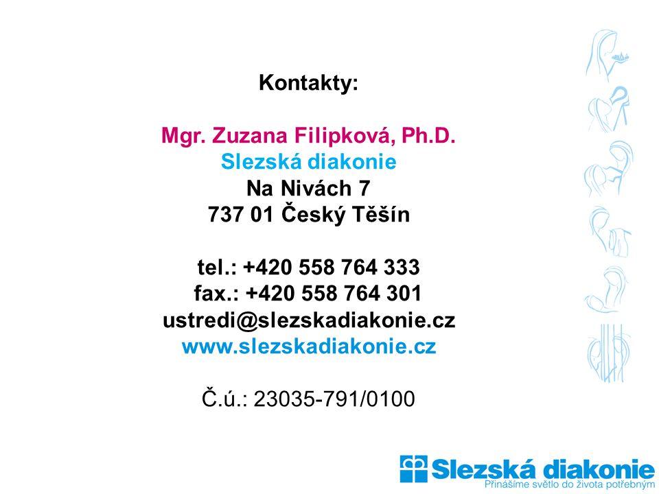 Kontakty: Mgr. Zuzana Filipková, Ph.D. Slezská diakonie Na Nivách 7 737 01 Český Těšín tel.: +420 558 764 333 fax.: +420 558 764 301 ustredi@slezskadi
