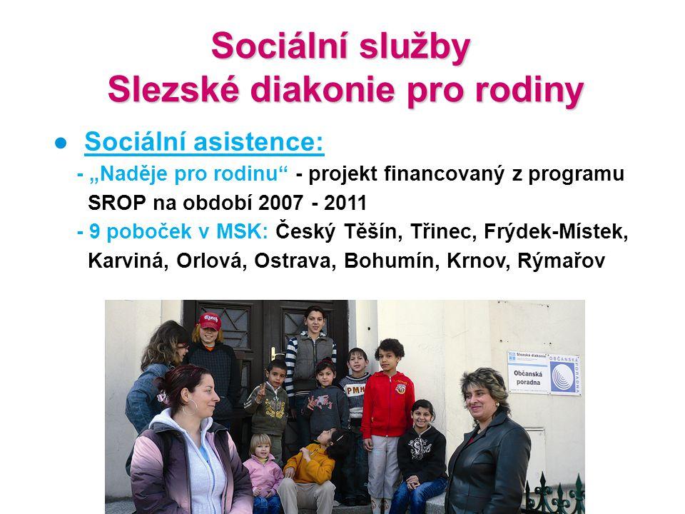 """Sociální služby Slezské diakonie pro rodiny Slezské diakonie pro rodiny ● Sociální asistence: - """"Naděje pro rodinu"""" - projekt financovaný z programu S"""