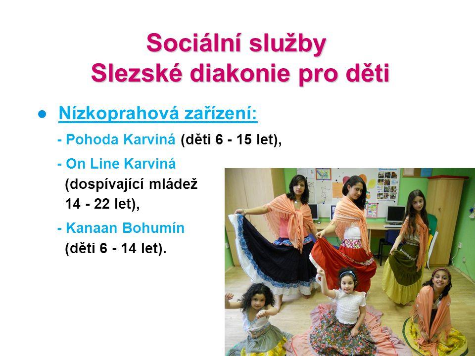 Sociální služby Slezské diakonie pro děti Slezské diakonie pro děti ● Nízkoprahová zařízení: - Pohoda Karviná (děti 6 - 15 let), - On Line Karviná (do