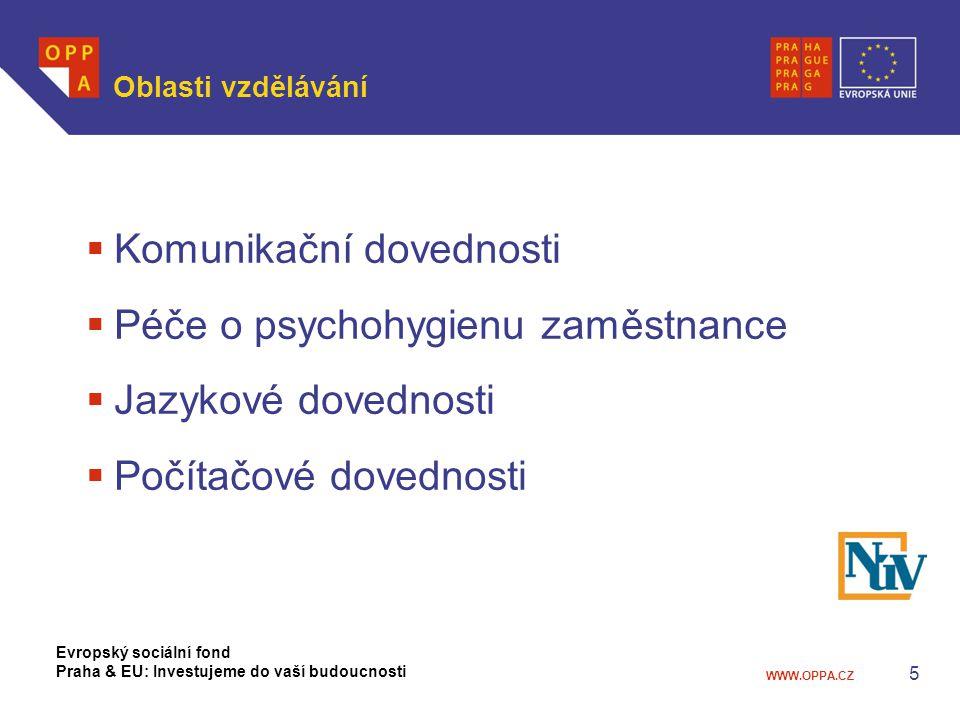 WWW.OPPA.CZ 6 Vzdělávací aktivity  Komunikační dovednosti  Konstruktivní komunikace  Prezentační dovednosti  Koučink  Péče o psychohygienu zaměstnance  Prevence syndromu vyhoření a nácvik relaxačních technik  Brainjogging Evropský sociální fond Praha & EU: Investujeme do vaší budoucnosti
