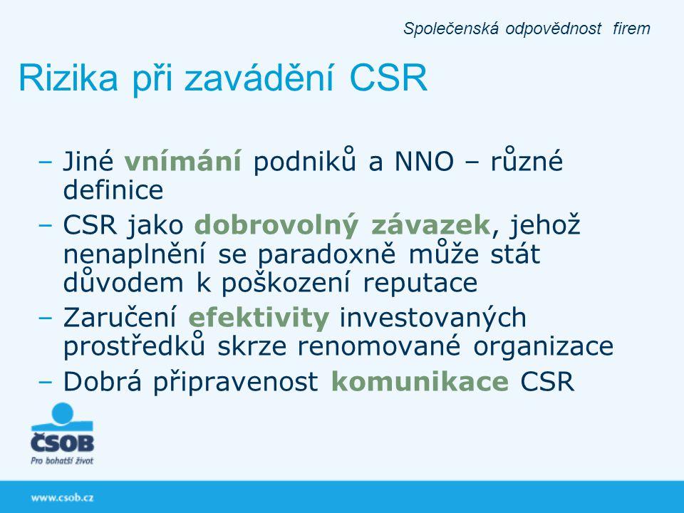 –Jiné vnímání podniků a NNO – různé definice –CSR jako dobrovolný závazek, jehož nenaplnění se paradoxně může stát důvodem k poškození reputace –Zaruč