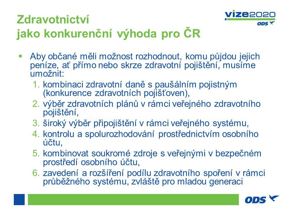 Zdravotnictví jako konkurenční výhoda pro ČR  Aby občané měli možnost rozhodnout, komu půjdou jejich peníze, ať přímo nebo skrze zdravotní pojištění, musíme umožnit:  kombinaci zdravotní daně s paušálním pojistným (konkurence zdravotních pojišťoven),  výběr zdravotních plánů v rámci veřejného zdravotního pojištění,  široký výběr připojištění v rámci veřejného systému,  kontrolu a spolurozhodování prostřednictvím osobního účtu,  kombinovat soukromé zdroje s veřejnými v bezpečném prostředí osobního účtu,  zavedení a rozšíření podílu zdravotního spoření v rámci průběžného systému, zvláště pro mladou generaci