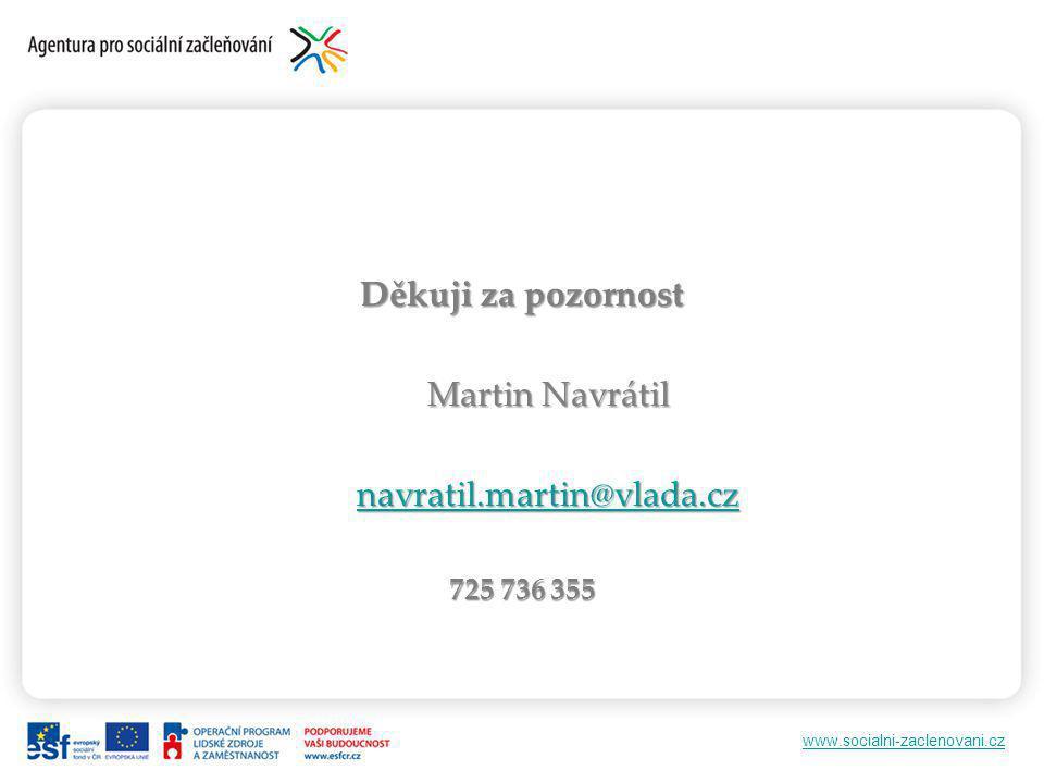 www.socialni-zaclenovani.cz Děkuji za pozornost Martin Navrátil navratil.martin@vlada.cz 725 736 355