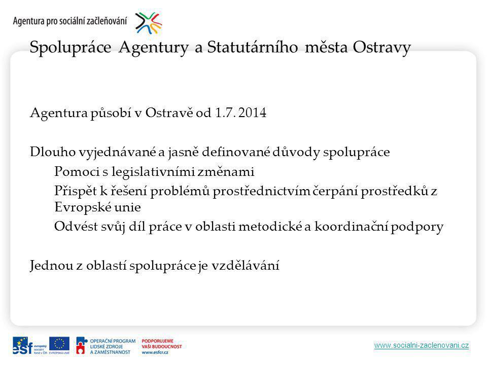 www.socialni-zaclenovani.cz Spolupráce Agentury a Statutárního města Ostravy Agentura působí v Ostravě od 1.7.