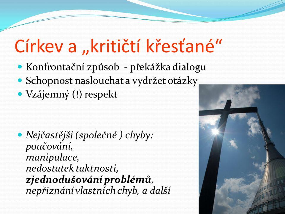 """Církev a """"kritičtí křesťané"""" Konfrontační způsob - překážka dialogu Schopnost naslouchat a vydržet otázky Vzájemný (!) respekt Nejčastější (společné )"""
