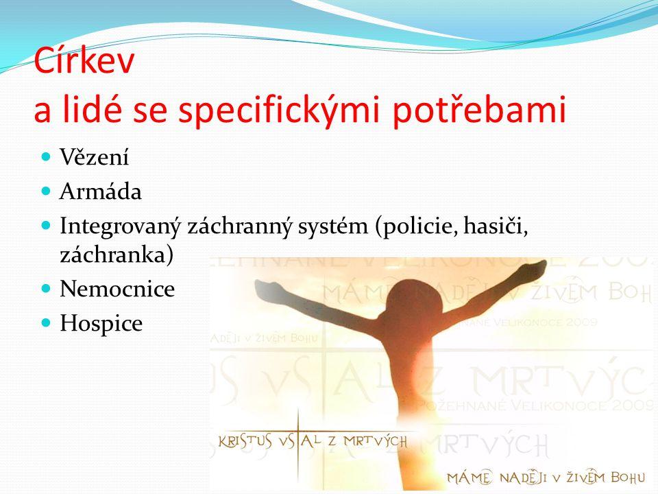 Církev a lidé se specifickými potřebami Vězení Armáda Integrovaný záchranný systém (policie, hasiči, záchranka) Nemocnice Hospice
