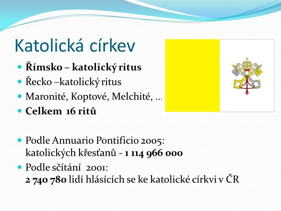 Katolická církev Římsko – katolický ritus Řecko –katolický ritus Maronité, Koptové, Melchité, … Celkem 16 ritů Podle Annuario Pontificio 2005: katolic